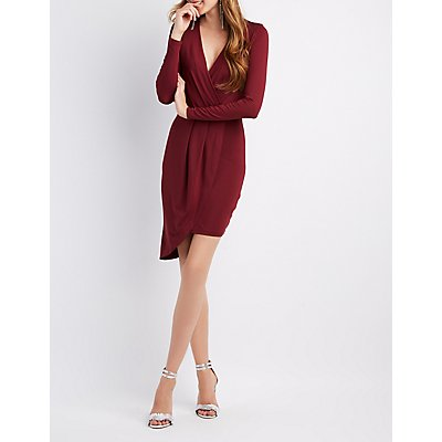 Asymmetrical Surplice Bodycon Dress