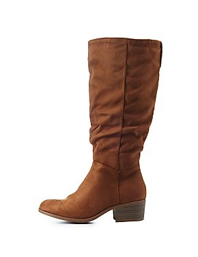Ruched Almond Toe Riding Boots