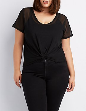 Plus Size Knotted Mesh V-Neck Tee