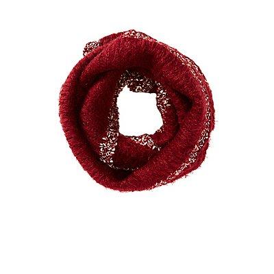 Metallic-Trim Knit Infinity Scarf