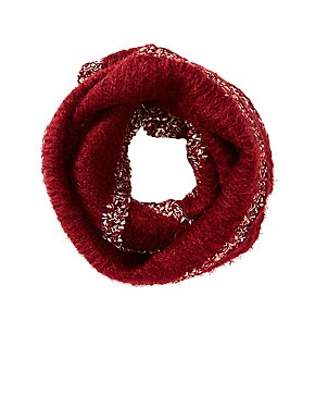 Metallic-Trim Knit Infinity Scarf