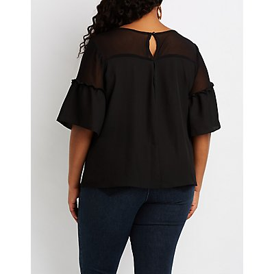 Plus Size Mesh-Trim Keyhole Top