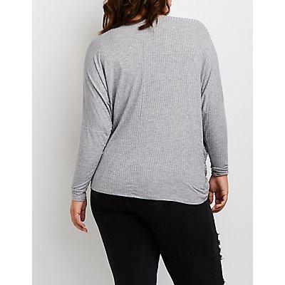 Plus Size V-Neck Wrap Front Top