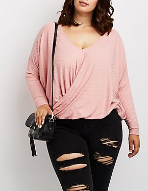 Plus Size V-Neck Wrap Front Shirt