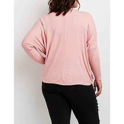 Plus Size V-Neck Wrap Front Shirt