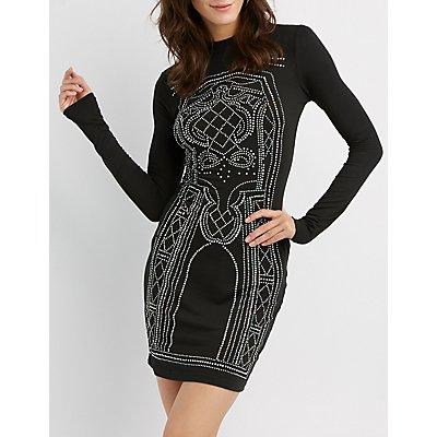 Mock Neck Rhinestone Detailed Bodycon Dress