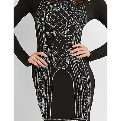 Mock Neck Rhinestone Detailed Bodycon Dress