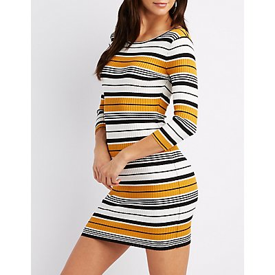 Striped & Ribbed Knit Bodycon Sweater Dress