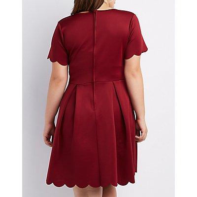 Plus Size Scalloped V-Neck Skater Dress