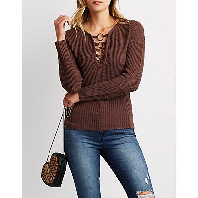 O-Ring Detail Knit Sweater