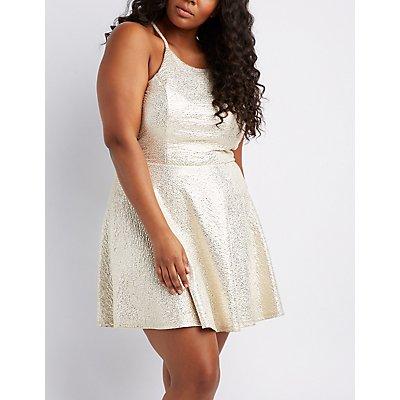 Plus Size Shimmer Knit Bib Neck Skater Dress