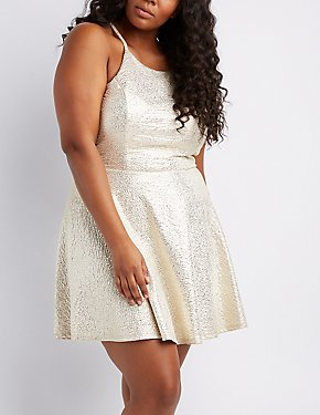 Plus Size Shimmer Knit Bib Neck Skater Dress