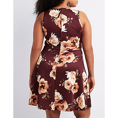 Plus Size Floral Scalloped Skater Dress