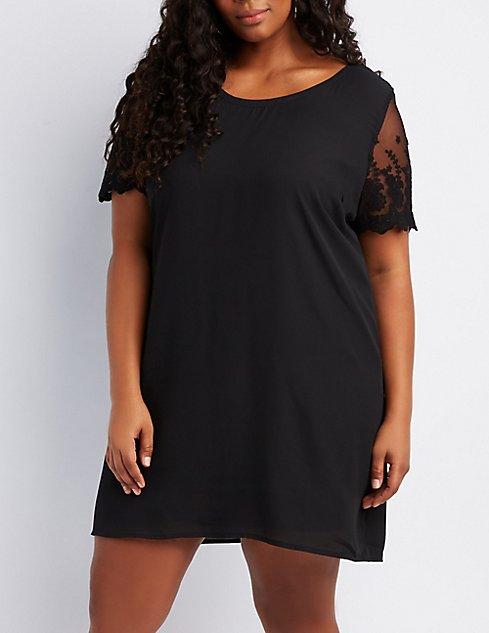 Plus Size Lace Trim Shift Dress Charlotte Russe
