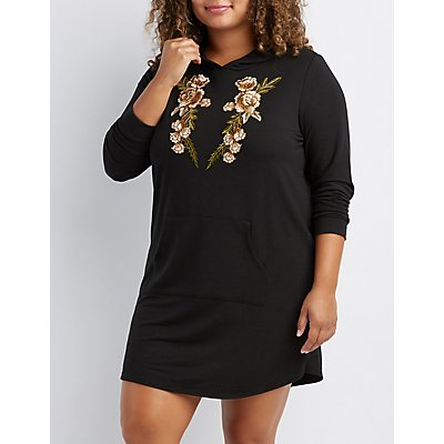 Plus Size Floral Patch Hooded Sweater Dress