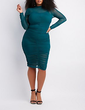 Plus Size Ruched Mesh Bodycon Dress