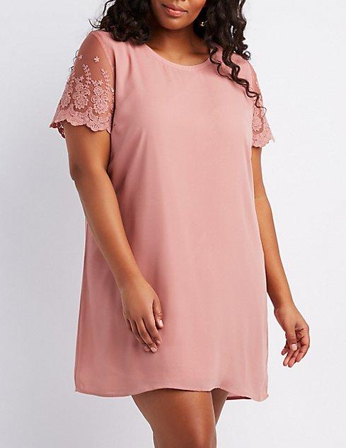 Plus Size Lace-Trim Shift Dress | Charlotte Russe