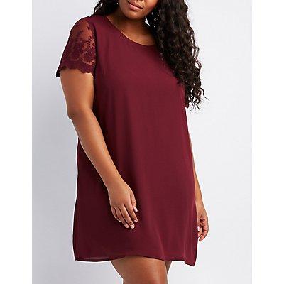 Plus Size Lace-Trim Shift Dress