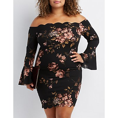 Plus Size Floral Scalloped Bodycon Dress