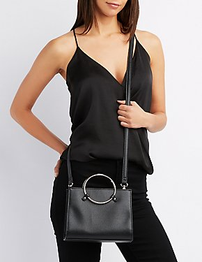 Faux Leather O-Ring Crossbody Bag