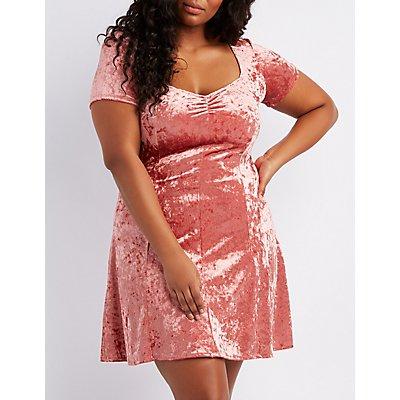 Plus Size Crushed Velvet Skater Dress