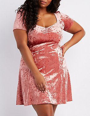 Plus Size Crushed Velvet Skater Dress