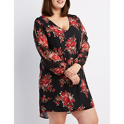 Plus Size Floral Split-Sleeve Shift Dress