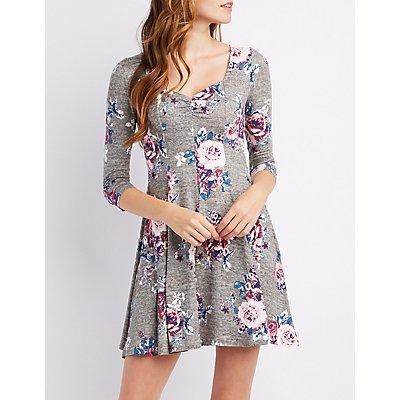 Floral Sweetheart Neck Skater Dress