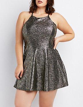 Plus Size Metallic Bib Neck Skater Dress