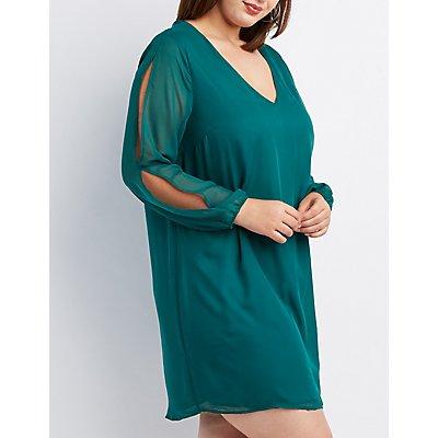 Plus Size Chiffon Split-Sleeve Shift Dress