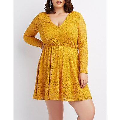 Plus Size Lace V-Neck Skater Dress