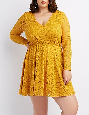 Plus Size Lace V-Neck Skater Dress