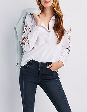 Floral Embroidered Button-Up