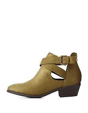 Wrapped Buckle Cut-Out Booties