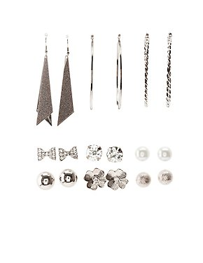 Embellished Stud, Hoop, & Drop Earrings - 9 Pack