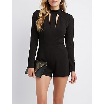 Open-Back Mock Neck Romper