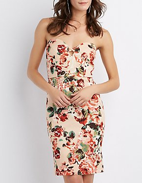 Floral Caged Strapless Bodycon Dress