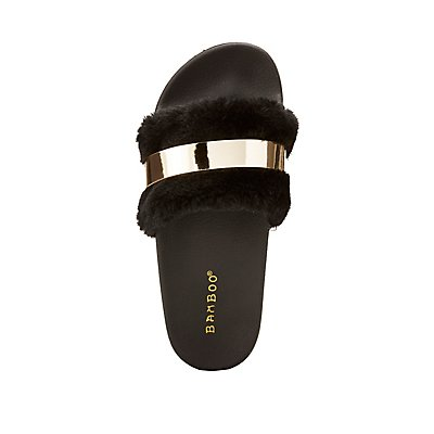 Bamboo Faux Fur Metal Embellished Slides