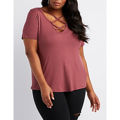 Plus Size Caged Knit Tee