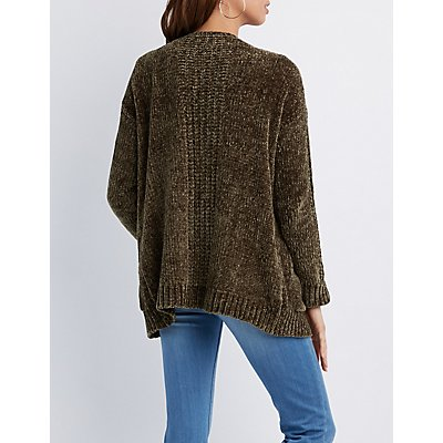 Chenille Open-Front Cardigan