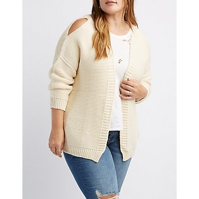 Plus Size Cold Shoulder Open-Front Cardigan