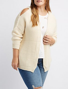 Cold Shoulder Open-Front Cardigan