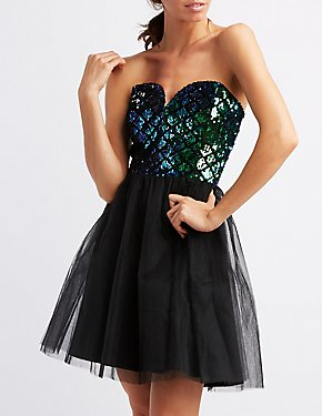Strapless Notched Sequins Skater Dress