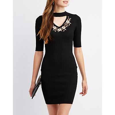 Rib Knit Embroidered Mock Neck Dress