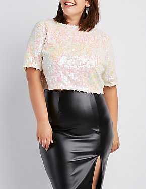 Plus Size Sequins Zip-Back Crop Top