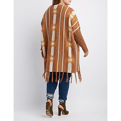 Plus Size Aztec Patterned Open-Front Cardigan