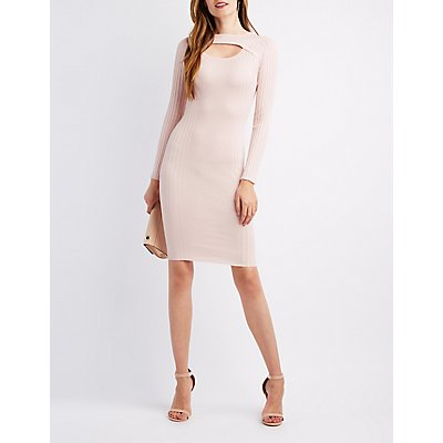 Open Front Rib Knit Midi Dress