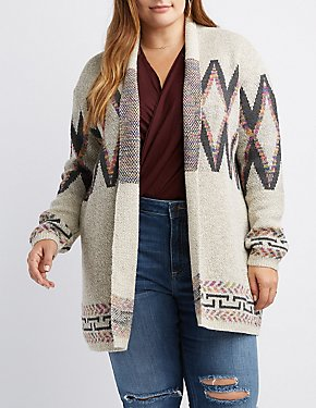 Plus Size Geometric-Patterned Open-Front Cardigan
