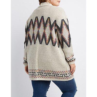 Plus Size Geometric-Patterned Open-Front Cardigan