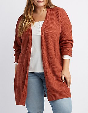 Plus Size Open-Front Cable Knit Cardigan